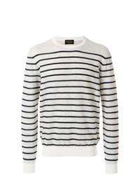 Jersey con cuello circular de rayas horizontales en blanco y azul marino de Tod's