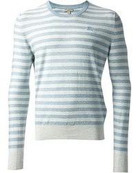 Jersey con cuello circular de rayas horizontales en blanco y azul