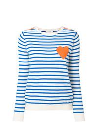 Jersey con cuello circular de rayas horizontales en blanco y azul de Chinti & Parker