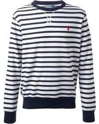Jersey con cuello circular de rayas horizontales en blanco y azul de Ralph Lauren