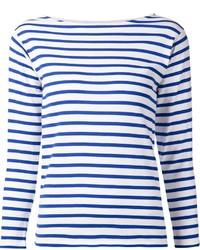 Jersey con cuello circular de rayas horizontales en blanco y azul de Saint Laurent