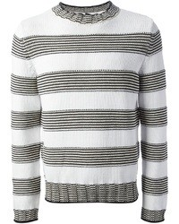 Jersey con cuello circular de rayas horizontales en blanco y negro