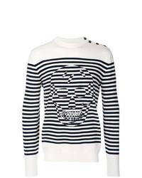 Jersey con cuello circular de rayas horizontales en blanco y negro de Alexander McQueen