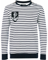 Jersey con cuello circular de rayas horizontales en blanco y negro de Balmain