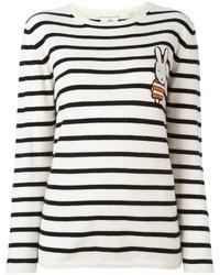 Jersey con cuello circular de rayas horizontales en blanco y negro de Chinti and Parker