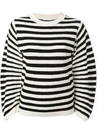 Jersey con cuello circular de rayas horizontales en blanco y negro de Chloé
