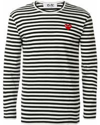 Jersey con cuello circular de rayas horizontales en blanco y negro de Comme des Garcons