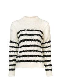 Jersey con cuello circular de rayas horizontales en blanco y negro de Loewe