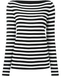 Jersey con cuello circular de rayas horizontales en blanco y negro de Michael Kors