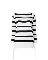 Jersey con cuello circular de rayas horizontales en blanco y negro de Moncler