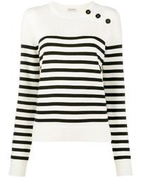 Jersey con cuello circular de rayas horizontales en blanco y negro de Saint Laurent