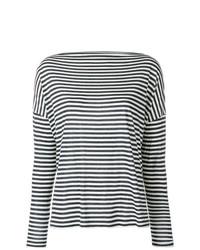 Jersey con cuello circular de rayas horizontales en blanco y negro de Vince