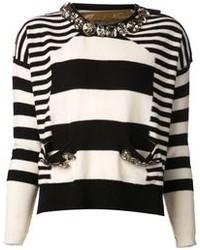 Jersey con cuello circular de rayas horizontales en blanco y negro de Zhor & Nema