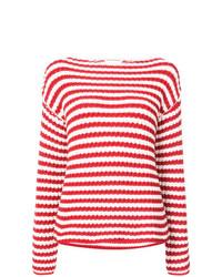 Jersey con cuello circular de rayas horizontales en blanco y rojo de Mansur Gavriel