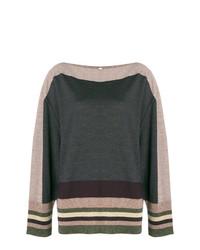 Jersey con cuello circular de rayas horizontales en gris oscuro de Antonio Marras