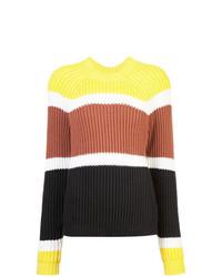 Jersey con cuello circular de rayas horizontales en multicolor de Derek Lam