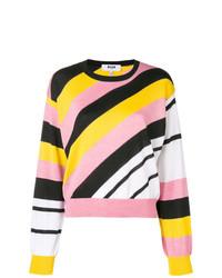 Jersey con cuello circular de rayas horizontales en multicolor de MSGM