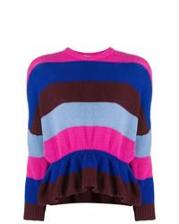 Jersey con cuello circular de rayas horizontales en multicolor de RED Valentino