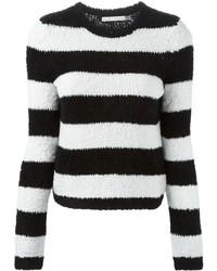 Jersey con cuello circular de rayas horizontales en negro y blanco de Alice + Olivia