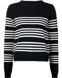 Jersey con cuello circular de rayas horizontales en negro y blanco de Chinti and Parker