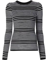 Jersey con cuello circular de rayas horizontales en negro y blanco de Dion Lee