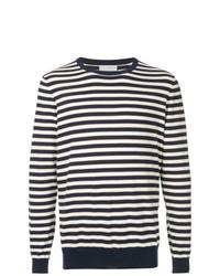 Jersey con cuello circular de rayas horizontales en negro y blanco de Gieves & Hawkes