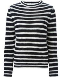 Jersey con cuello circular de rayas horizontales en negro y blanco de IRO