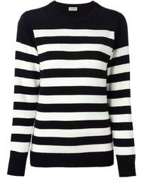 Jersey con cuello circular de rayas horizontales en negro y blanco de Saint Laurent