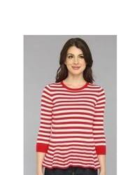 Jersey con cuello circular de rayas horizontales en rojo y blanco
