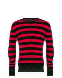 Jersey con cuello circular de rayas horizontales en rojo y negro