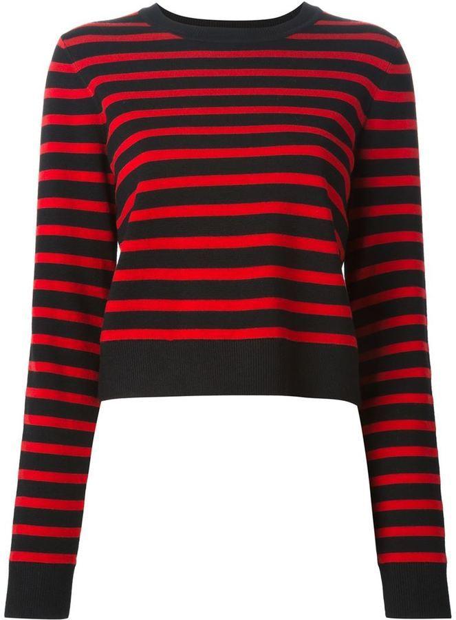 Jersey con cuello circular de rayas horizontales en rojo y negro de Marc by Marc Jacobs