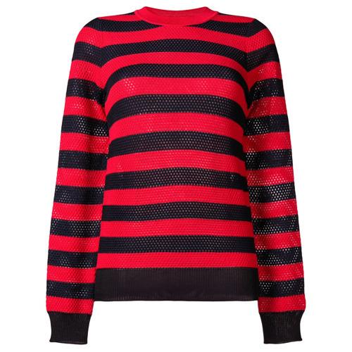 Jersey con cuello circular de rayas horizontales en rojo y negro de Sonia Rykiel
