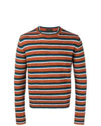 Jersey con cuello circular de rayas horizontales en tabaco de Prada