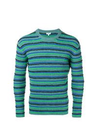 Jersey con cuello circular de rayas horizontales en turquesa de Kenzo