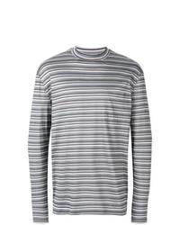 Jersey con cuello circular de rayas horizontales gris de Lanvin