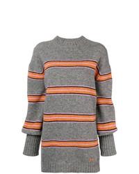 Jersey con cuello circular de rayas horizontales gris de MSGM
