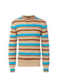 Jersey con cuello circular de rayas horizontales marrón claro