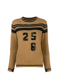 Jersey con cuello circular de rayas horizontales marrón claro de Ermanno Scervino
