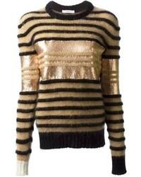 Jersey con cuello circular de rayas horizontales marrón claro de Givenchy