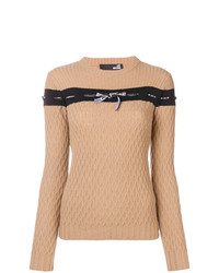 Jersey con cuello circular de rayas horizontales marrón claro de Love Moschino