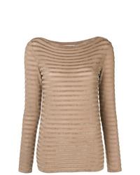 Jersey con cuello circular de rayas horizontales marrón claro de Max Mara