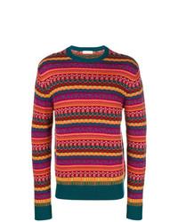Jersey con cuello circular de rayas horizontales morado oscuro de Etro