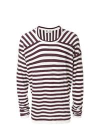 Jersey con cuello circular de rayas horizontales morado oscuro de Laneus
