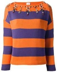 Jersey con cuello circular de rayas horizontales naranja