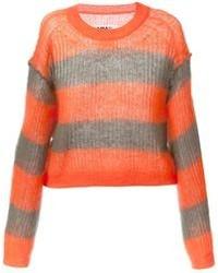 Jersey con cuello circular de rayas horizontales naranja de Maison Martin Margiela