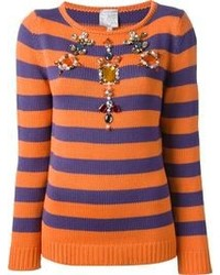 Jersey con cuello circular de rayas horizontales naranja de Stella Jean