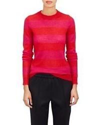 Jersey con cuello circular de rayas horizontales rojo