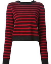 Jersey con cuello circular de rayas horizontales rojo de Marc by Marc Jacobs