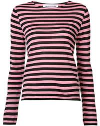 Jersey con cuello circular de rayas horizontales rosa