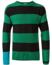 Jersey con cuello circular de rayas horizontales verde